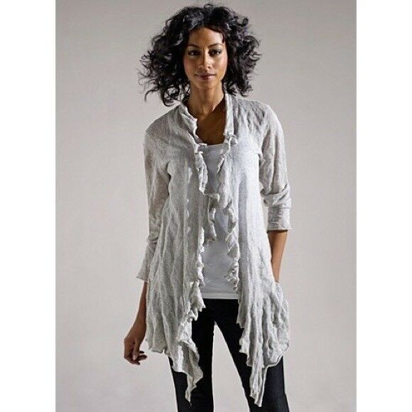 Eileen Fisher Metallic Ruffled Open Cardigan Size Small- New W W W  Tags 8e8606