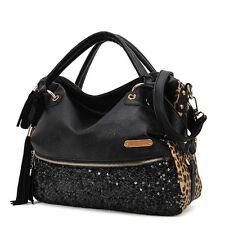 Fashion Casual Leopard Tassels Handbag Women Paillette Messenger Bag Cheap