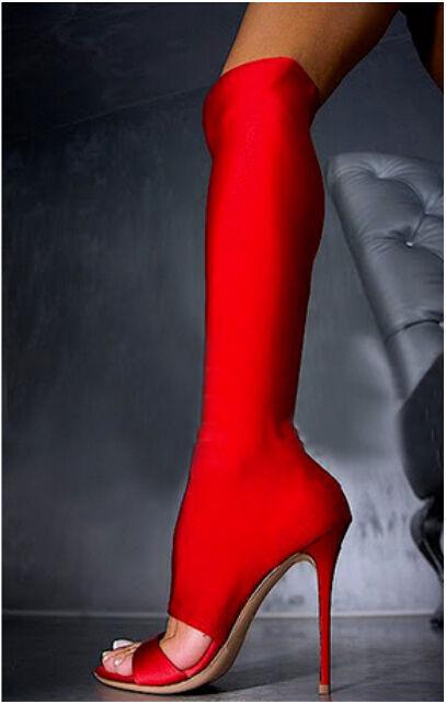 Mujer por sobre la rodilla botas Elástico Tacón Alto Punta Abierta Sandalias Aguja Zapatos Caliente