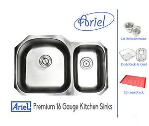 Details About Preimum Stainless Steel 16g 32 Double Bowl 70 30 Undermount Kitchen Sink Combo