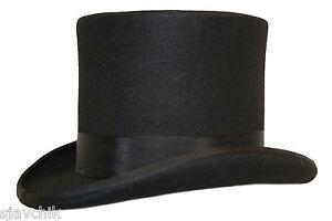 Mariage-Evenement-100-Laine-Feutre-Chapeau-Haut-De-Forme-Avec-Satin-Doublure