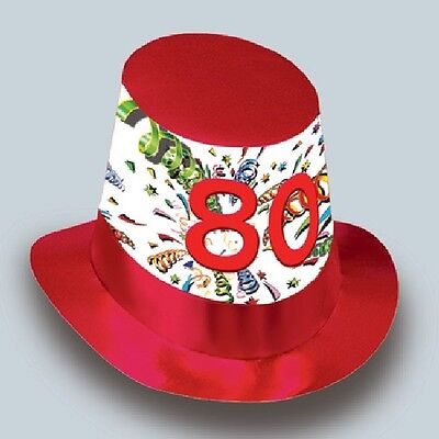 80th Birthday Party Age 80 MENS HIGH TOP HAT