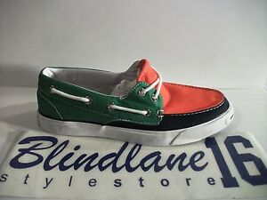 SCARPE CONVERSE JACK PURCELL BOAT OX CANVAS GREEN NAVY ORANGE 113509 EUR N 45