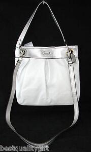 new Blanco 17605 Ashley Handbag Plateado Cuero Cruzado Coach Hippy Hombro ARq8wBB