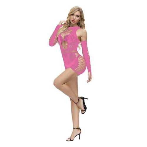 Details about  /Adult Fishnet Body Stockings Babydoll Sleepwear Bodysuit Lingerie Women/'s Dress