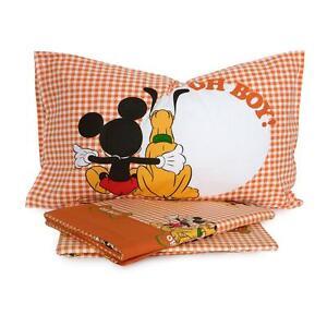 Lenzuola Flanella Disney Caleffi.Dettagli Su Completo Lenzuola Topolino E Pluto Disney Caleffi In Flanella Singolo Q217