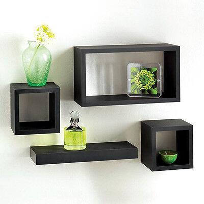 Floating Rectangle set of 4 wall mountable Black oak white shelves set