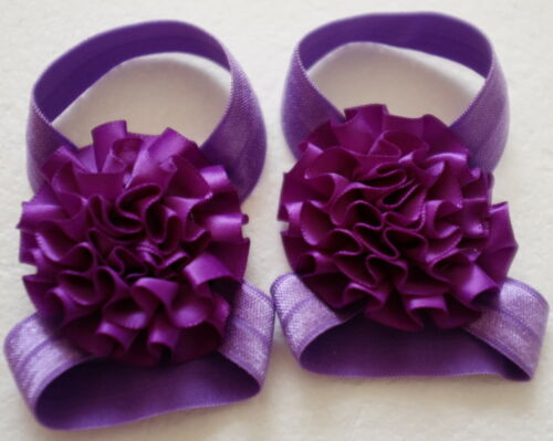 Baby Girls Barefoot Sandals Satin Peony Flower Shoes *Handmade In Australia*