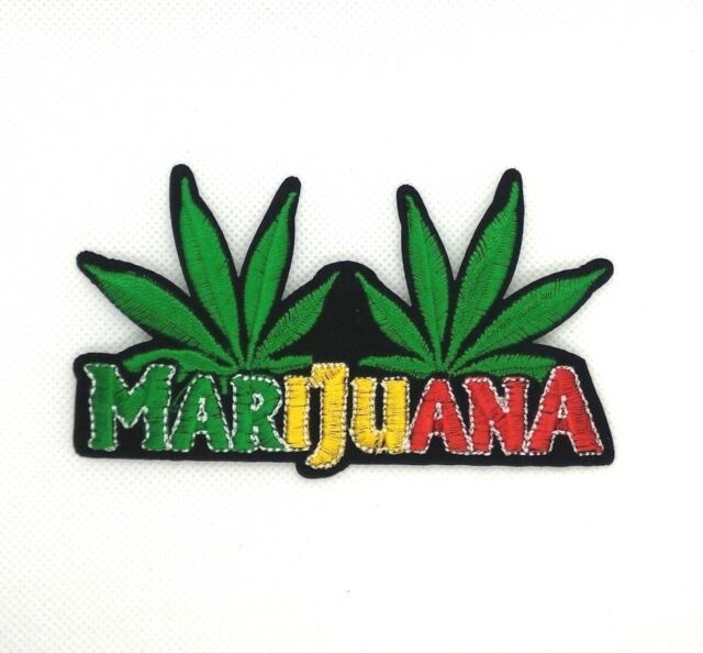 FREE SHIPPING! Iron On POT LEAF embroidered Patch Marijuana