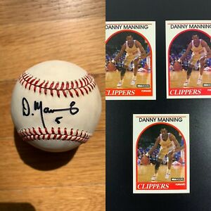 DANNY MANNING AUTOGRAPHED OFFICIAL AMERICAN LEAGUE BASEBALL! WITH 3 Rookie Cards