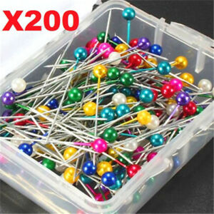 X200-Dressmaking-Sewing-Pin-Straight-Round-Head-Colorful-Pearl-Corsage-Needles
