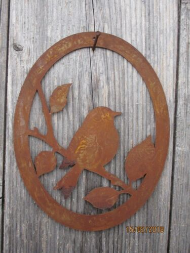 Edelrost Vogel Bild Aufhänger Türkranz Dekoration Garten Terrasse Türkranz  Wand