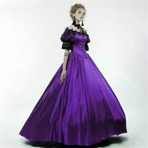 Lady-Lolita-Victorian-Gothic-Dress-Lace-Off-shoulder-Steampunk-Evening-Retro-Red