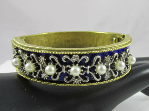 Vintage Kramer Hinged Bangle Bracelet Blue Enamel