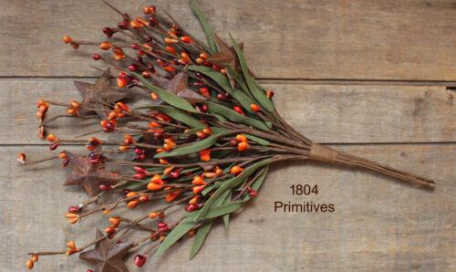 "Tans Orange 12/"" Leafy Pip Berry Pick w//Rusty Stars ~ Burnt Red"