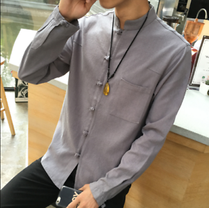 Homme Hauts Bouton Rétro Style Chinois Chemise Lin Casual Long Sleeve Stand Collar