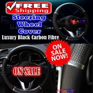 Luxury-Auto-Car-Steering-Wheel-Cover-Carbon-Pattern-with-PU-Leather-Car-Cover-x1