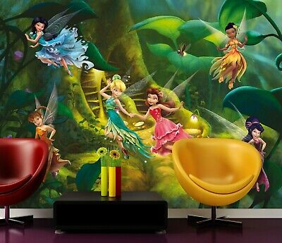 Disney Wall Mural Wallpaper Children's Bedroom Fairies Tinker Bell Premium Green