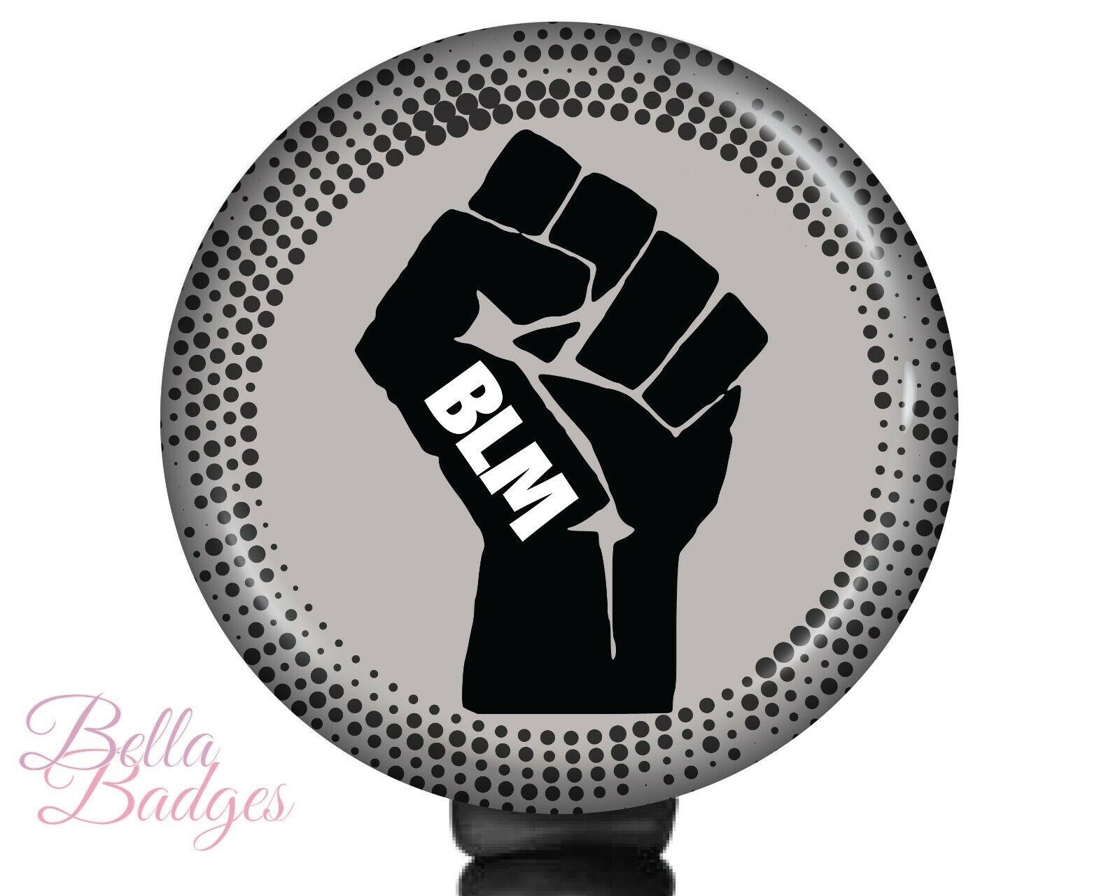 BLM Badge Reel Black Lives Matter Raised Fist ID Holder Clip Retractable Pull