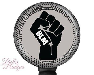 BLM Badge Reel Black Lives Matter Floral Raised Fist ID Holder Clip Retractable Pull