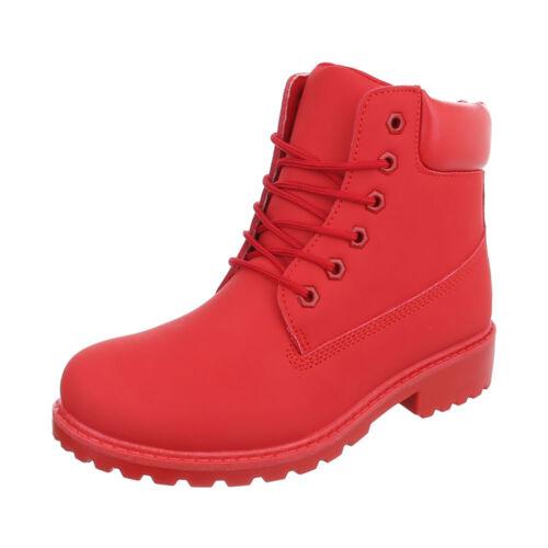 Boots Schnürer Leder Optik Schnürstiefeletten Damenschuhe 8449 Ital-design