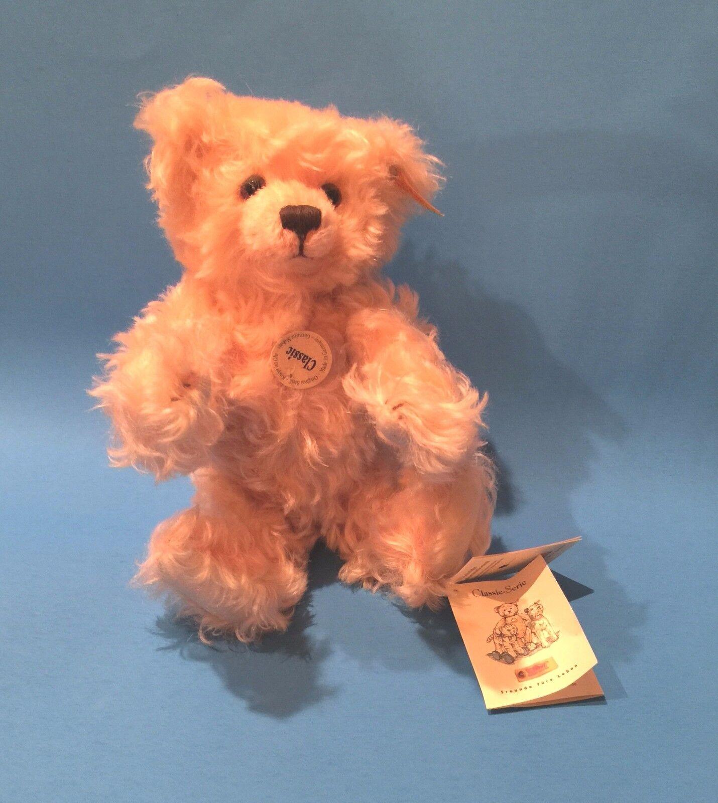 STEIFF  CLASSIC TEDDY BEAR   EAN 005015 APRICOT MOHAIR WITH SQUEAKE 11 1 2