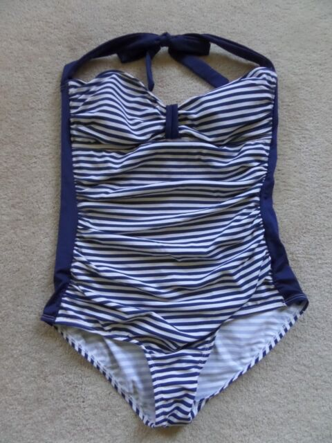 NWT Bettie Page Pin Up Stripe Swizzle Sheath 1pc swimsuit sz 16W Current Mood