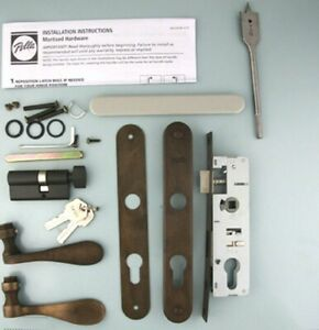 Details about Pella storm door hardware with curved handle and mortise lock  Oil Rubbed Bronze