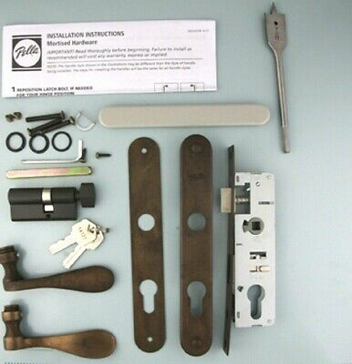 Pella storm door hardware with curved handle and mortise lock Oil Rubbed Bronze
