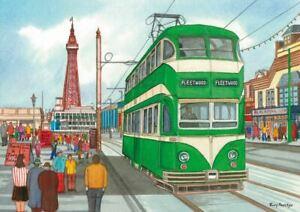 A busy vintage Blackpool - Greetings Card - Tony Paultyn