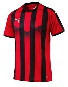 9f20d70bc90eb Details about PUMA Men LIGA Stripe Shirts S/S Training Jersey Red Black Tee  Top Shirt 70364023