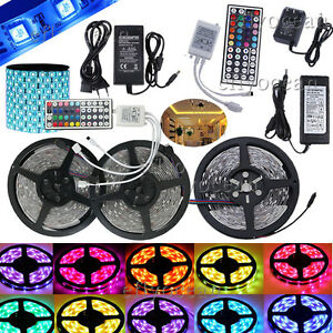 1m-30m-LED-RGB-SMD5050-30-60-LEDs-Streifen-Strip-Band-Leiste-44-key-Netzteil
