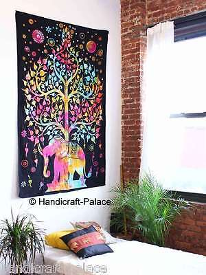 Tree Of Life Wall Hanging Indian Elephant Tapestry Decor Twin Bedding Bedspread