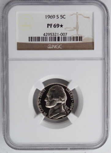 1969-S PROOF JEFFERSON NICKEL NGC PF69 STAR SUPERIOR EYE APPEAL