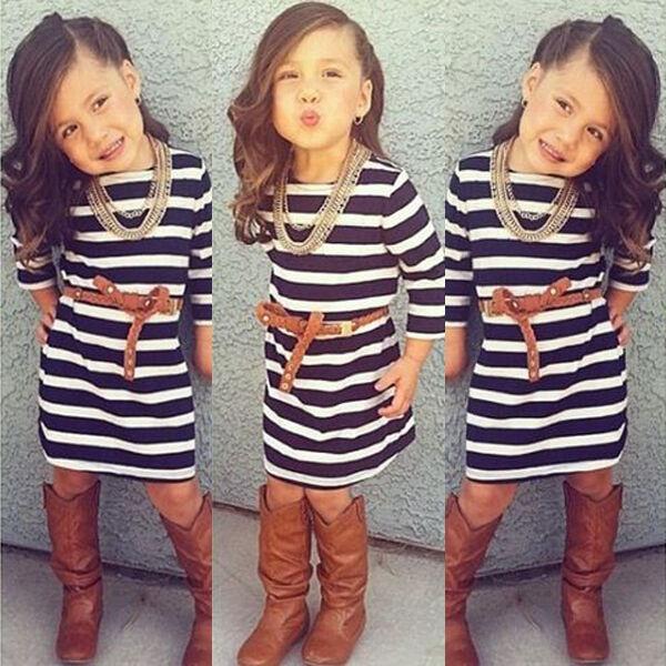2015 Baby Girls Dress Princess Striped Party Kids Formal Dresses Skirt 2-7Y
