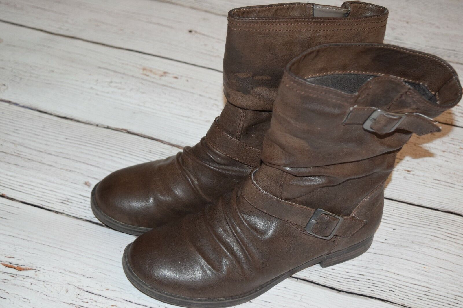 Vintage Buckle Motorcycle Slouch Boot