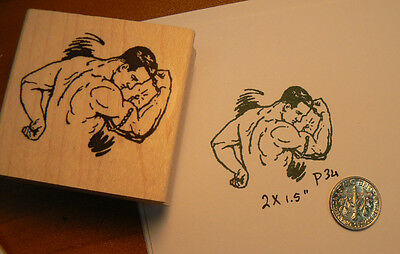 Muscle man retro style rubber stamp WM P34