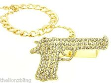 Hip Hop Urban 3 Finger Gold & Crystal Bling Pistol Gun Ring w/ Bracelet Leash