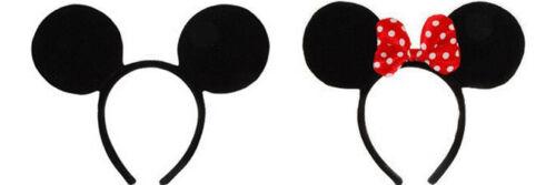 DISNEY MICKEY OR MINNIE MOUSE EARS HEADBAND COSTUME EAR HEADPIECE HAT BLACK