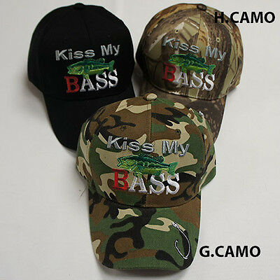 KISS MY BASS - Fishing, Hunting Baseball Cap - Quality Hat - Black or Camouflage
