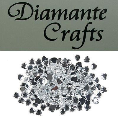 200 x 6mm Clear Diamante Heart Loose Flat Back Rhinestone Craft Embellishments