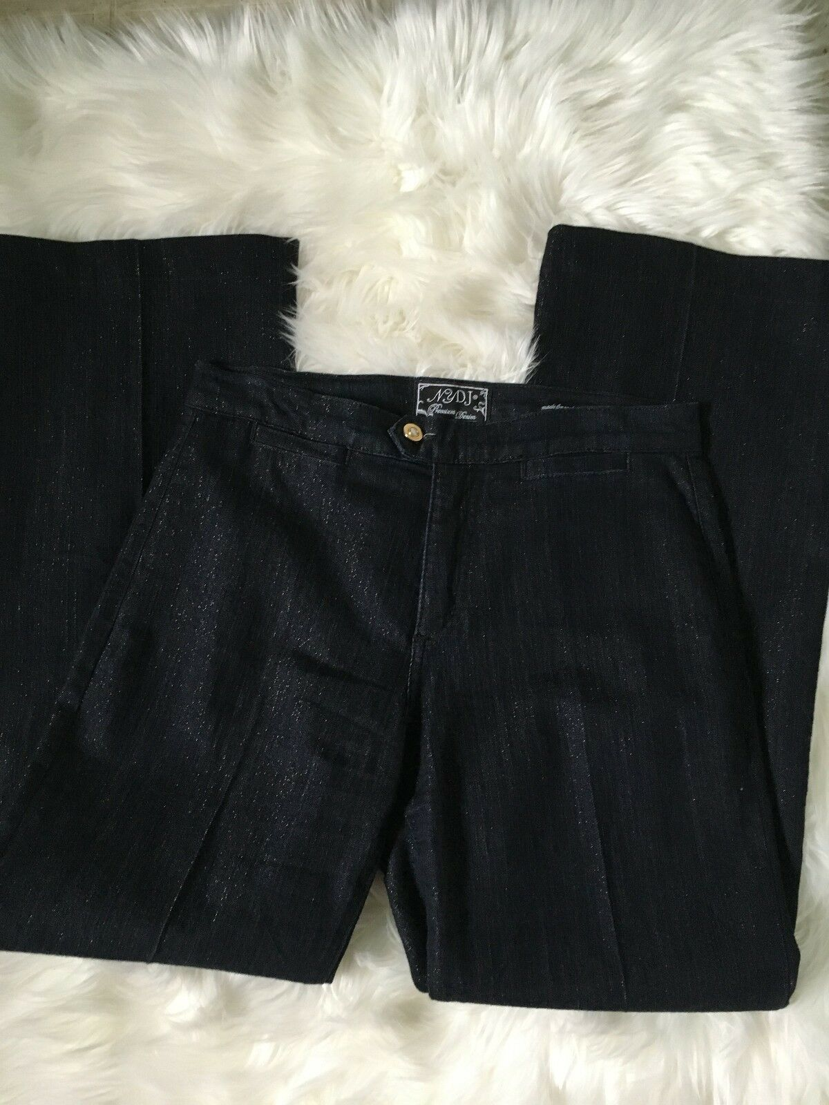 NEW nydj jeans 10 not your daughters jeans dark wash wide leg shimmer - size 10
