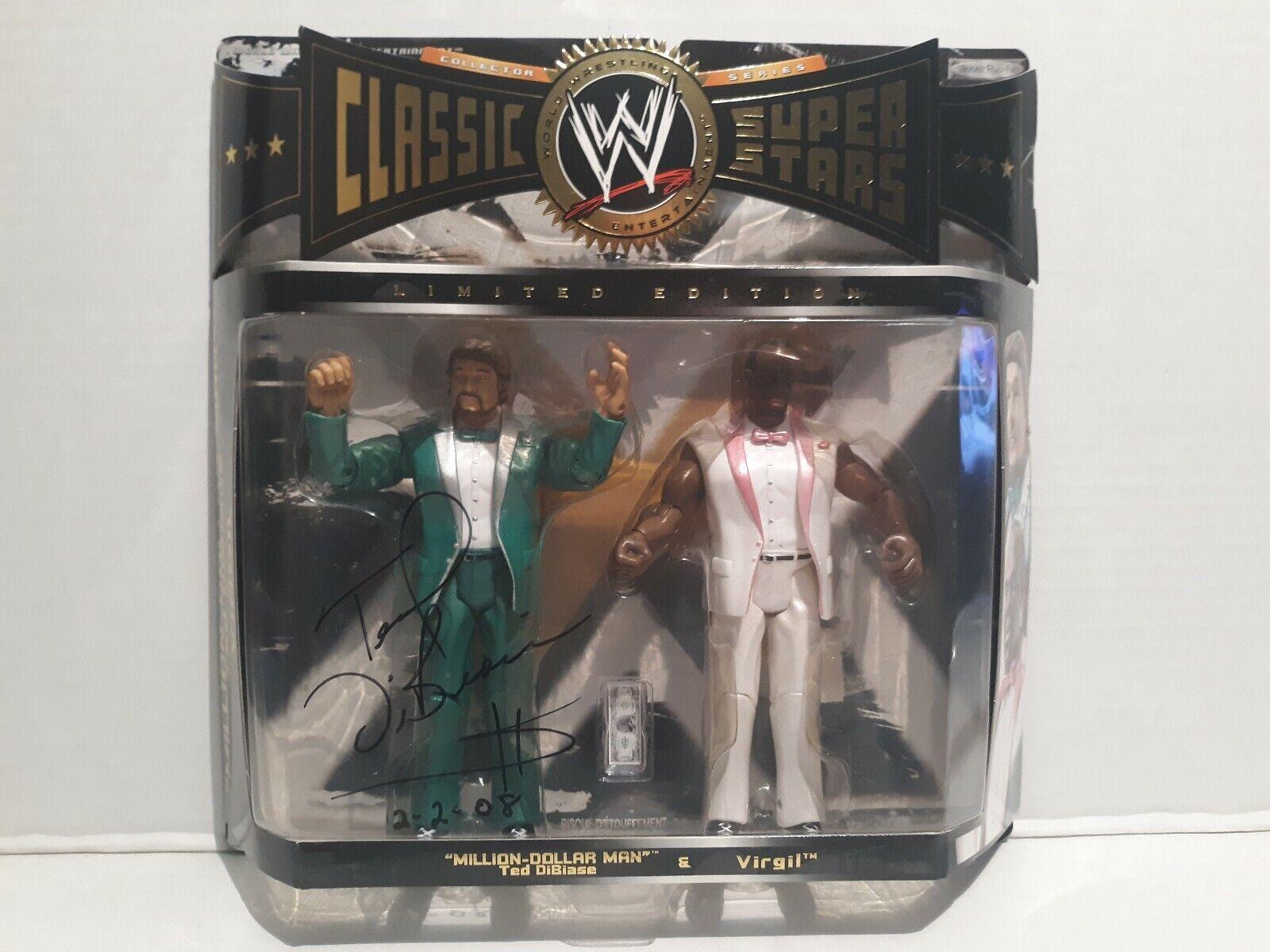 Wwe Classic súperEstrellas Autografiado Million Dollar Man Ted DiBiase & Virgil