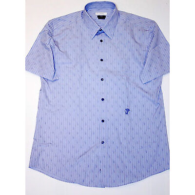 VERSACE COLLECTION  City LIGHT BLUE Short Sleeve MEDUSA Embroidered STRIPE Shirt