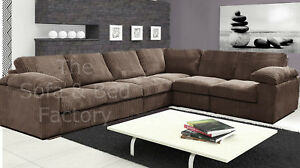 Details about New Ruxley Large Fabric 6 Seater Corner Sofa - 3 Corner 2 -  Beige / Coffee Cheap