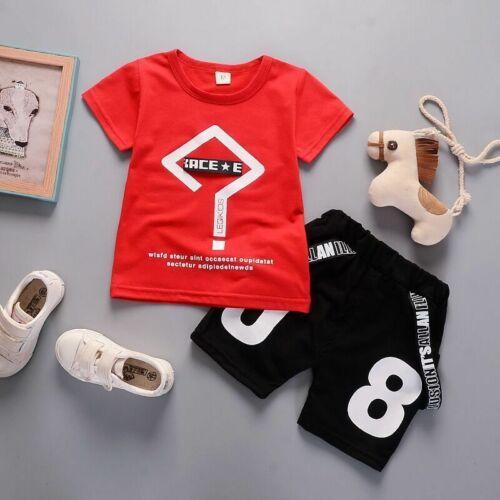 2Pcs Baby Boys Summer Short Sleeve T-Shirt+Shorts Kids Summer casual Outfits Set
