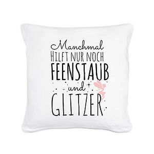 kissen dekokissen sofakissen mit fee elfe und spruch glitzer feenstaub ks36 ebay. Black Bedroom Furniture Sets. Home Design Ideas