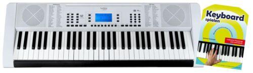Zeitloses 61-Tasten Keyboard in weiß mit USB/MP3 Port im Set inkl. Schule