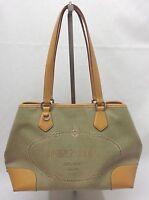 PRADA Logo Shopper Tasche Schultertasche Canvas Leder Beige Camel Khaki 1488