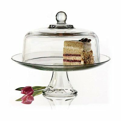"""Barski European Glass 2 pc Set Footed Cake Plate with Dome 12/""""H 11/""""D"""